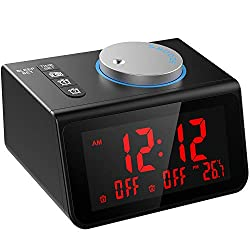 LATME-Alarm-Clock-Radio-for-Heavy-Sleepers W Dual Alarms,3.2'' Digital Display and Dimmer,7 Alarm Sounds,Snooze,2 USB Ports,Bedside FM Radio Clocks with Temp for Bedrooms/Kitchen/Office (Black-Red)