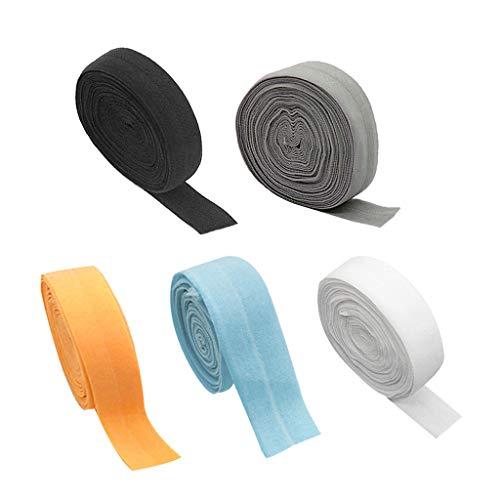 F Fityle 5X 10m Schrägband elastisches Band Falzband Falzgummi, 20mm, Einfaßband Gummi nähen