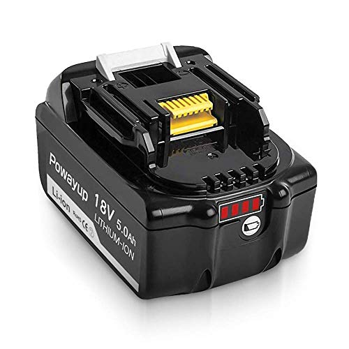 Powayup BL1850B 18V 5.0Ah Reemplazo Batería para BL1850 BL1850B BL1840 BL1840B BL1830B BL1815 BL1820 BL1830 BL1835 BL1835B 194205-3 194309-1 LXT-400 Herramientas Eléctricas Inalámbricas
