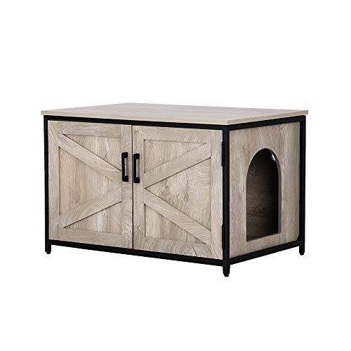 unipaws Cat Litter Box Enclosure, Privacy Cat Washroom Bench, Litter Box Hidden with Top Opening, Pet Crate, Cat House Nightstand