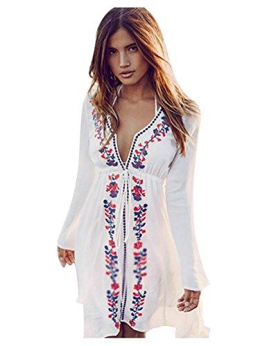 Mangotree Damen Boho Handstickerei Strandkleid Bikini Cover Up Weiß Bluse Sommerkleider Strandponcho Kittel Minikleid, 1 Weiß, EU34-40