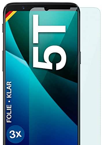 moex Klare Schutzfolie kompatibel mit OnePlus 5T - Bildschirmfolie kristallklar, HD Bildschirmschutz, dünne Kratzfeste Folie, 3X Stück