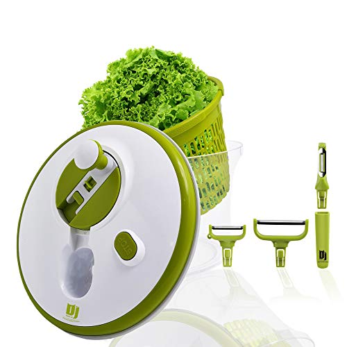 DJ, centrifuga per insalata, 5 l, innovativa funzione di manovella e arresto   con 3 raschietti