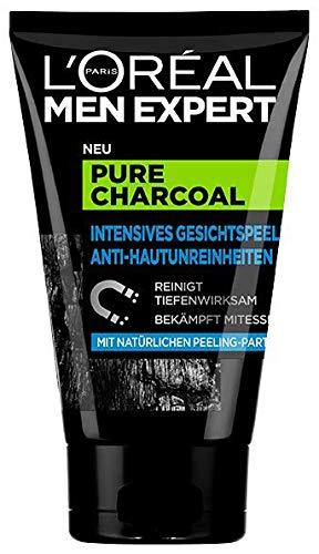 L\'Oréal Men Expert Pure Charcoal Kohle, Gesichtspeeling gegen unreine, fettige und ölige Männerhaut und Mitesser Porenreiniger - für klare Haut (1 x 100 ml)