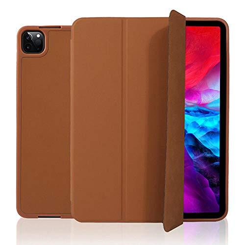 XIANNV Elegante Funda del Teclado para iPad Pro 12.9 2020/2018 Multi PLOW PU CUERA DE CUERA DE Cuero Smart para iPad Pro 4th Gen 12.9 Funda Capa (Color : Brown-Only Case, Size : Pro 12.9 2020)