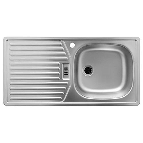 Rieber Spüle mit Hahnloch (Becken rechts) / Küchenspüle Edelstahlspüle E 86 K-R