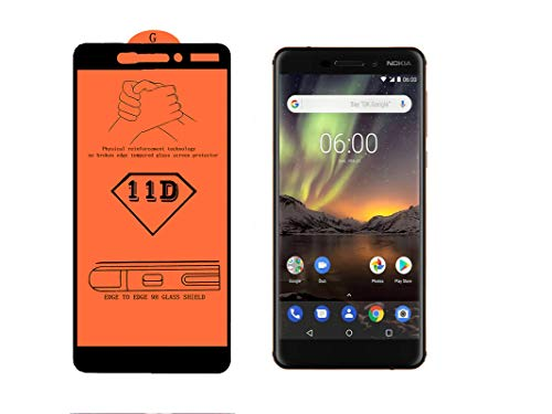 AAELOX 11D Tempered Glass Screen protector for Nokia 6.1 (Black, Copper, 32 GB)(3 GB RAM) [Easy Installation] [9H Hardness] [Scratch Resistant] [Non-Bubbles] (Colour Black)(Pack of 2)