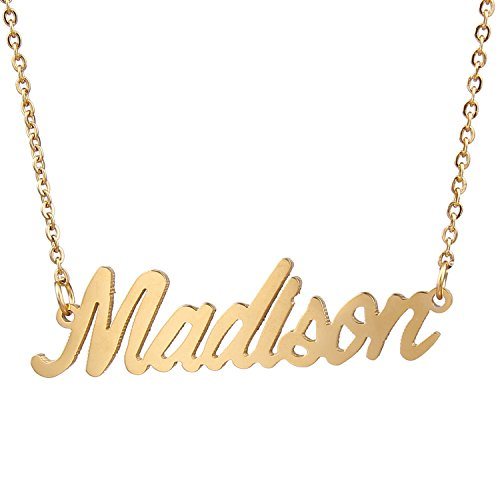 AOLO Gold Plated Monogram Name Necklace for Women, Madison