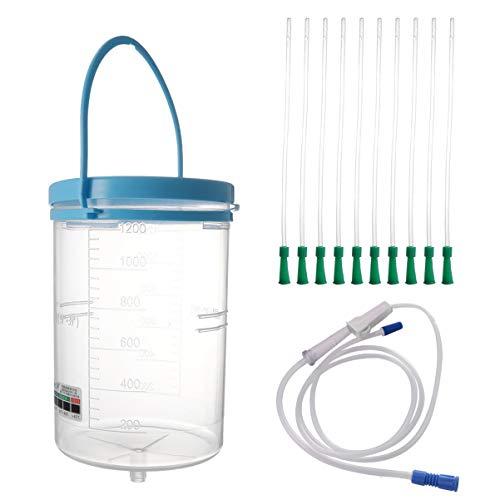 MILISTEN GRAN Kit de Cubo de Enema Anti Reflujo Kit de Enema Juego de Cubo de Limpieza de Enema Cubo de Plástico para Cubrir La Limpieza de Puntos 1200Ml Cubo Tubo de 23Cm