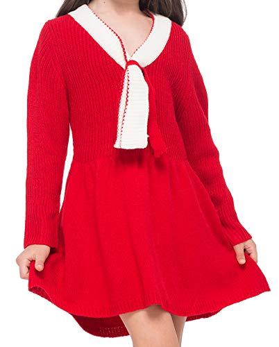 GAZIAR Girls Sweater Dress Little Girl Long Sleeve V-Neck Winter Dress Knit Sweater School Uniform Christmas Red Dresses