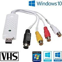 Tech Stor3 USB 2.0 Audio/Video Grabber Nueva versión 2019/nuevo Software (Compatible con Windows 10). Adaptador de vídeo VHS para Grabar Tus Viejas VHS