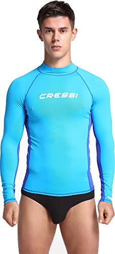 Cressi Rash Guard Man Long SL Camiseta Mangas Largas, en Tejido Elástico Especial, Protección Solar UV (UPF) 50+, Hombres, Aguamarina/Blanco, M