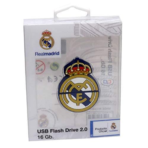 Real Madrid USB-11-RM Pendrive Rubber Escudo, 16GB