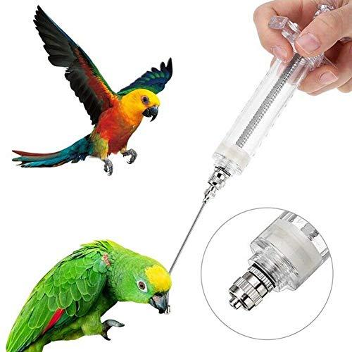 Cuckoo-X Jeringa de alimentación para pájaros pequeños de acero inoxidable con forma de jeringa de alta temperatura para alimentar loros y loros, -, 20ml+ needle