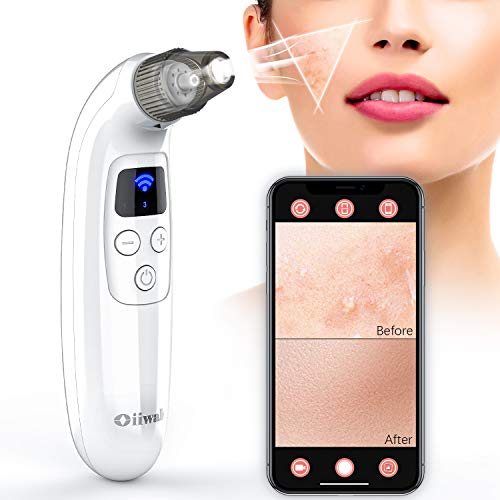 Blackhead Remover with Camera, Oiiwak Pore Vacuum WiFi Blackhead Pimple Sucker Acne Removal Pore Cleaner Electric Extractor Skin Care Kit(Work for iOS/Android Phone)