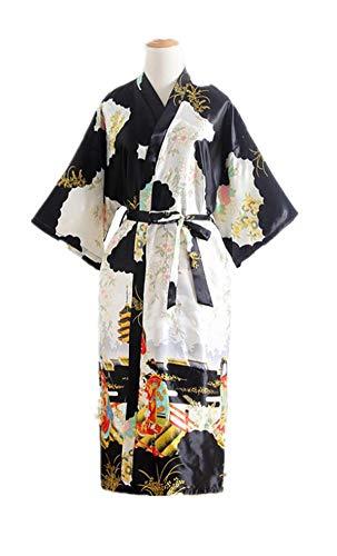 Bata de Shanghai Tongue®, estilo kimono de geisha, bata de baño y noche, color negro, talla única