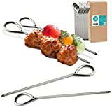 "[60 Pack] 5"" Stainless Steel Metal Round Skewers - Kabob Grilling Sticks, BBQ Mediterranean Mexican Cocktail Party, for Appetizers Shish Kebab Meat Fruits Vegetables Martini and Bloody Mary Garnish"