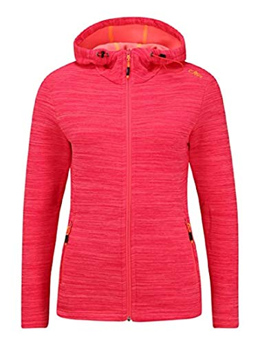 CMP Damen Fleece-Jacke FIX Hood - Power Stretch Qualität 30E9676, Pink (Gloss Mel. B354), 42