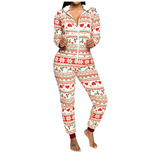 Forthery-Women Sexy Family Santa Christmas Onesies Pajamas Adult Funny Matching Jumpsuit Sleepwear Red(Red,S)