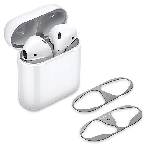 Spigen Shine Shield Progettato per Apple Airpods [2 sets] Adesivo antipolvere per Airpods 1&2 - Argento metallico
