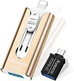 Unidad Flash iPhone De 128GB, Memory Stick para iPhone Auanoz con 4 Puertos, Unidad Flash USB 3.0 Compatible con iPhone/iPad/Android/PC/iPhone Photo Stick con Adaptador OTG. (Oro-128GB)