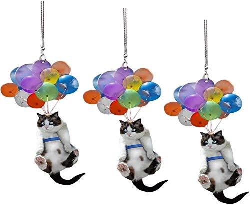 wnhnb 2021 - Adorno para colgar en coche de gato, adorno para colgar en coche con globo colorido, regalo para los amantes de los gatos (5 unidades, 74% fuera de tres)