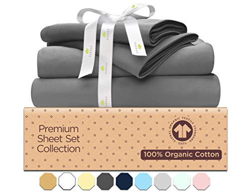 Deep Pocket Queen Sheet Sets - 500-Thread-Count Organic Cotton Bed Sheets-Set - 500TC Smoke Gray - 4 Piece Bedding - 100% GOTS Certified Extra Long Staple, Soft Sateen Weave Bed Sheets - Fits 15'