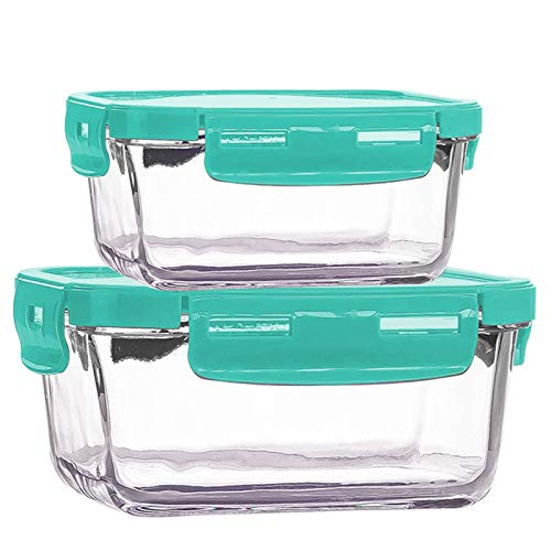 Contenedor de vidrio para preparación de comidas, se puede colocar en el refrigerador en el almacenamiento de la caja de almuerzo de vidrio, caja de cristal. Altura: 19 cm, ancho: 18,1 cm. Verde.