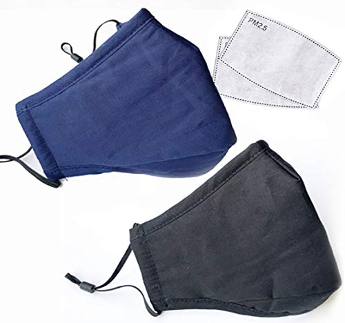 ZoBlockers 2-Pack Breathable Face Masks, 100% Cotton, Reusable Washable, Adjustable for Size, Elegant Design, Personal Protection from Dust, Pollution, Smoke & Irritants. Includes 2 Filters