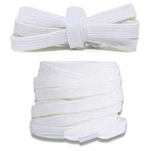 Junlic Flache Schnürsenkel, Reißfest [3 Paar] Ersatz Schuhbänder 100% Polyester 8 mm breit Schnürsenkel für Sportschuhe und Sneaker Weiß
