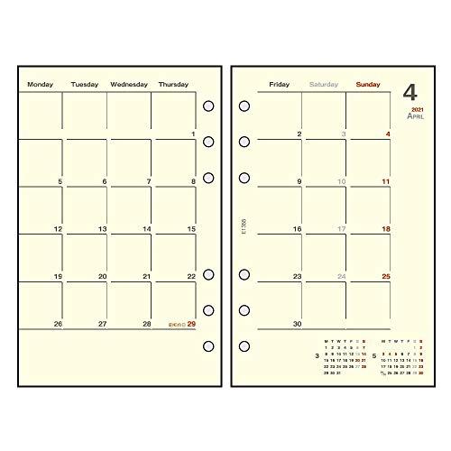 ダイゴー手帳用リフィル2021年マンスリーブラックE13572020年12月始まり