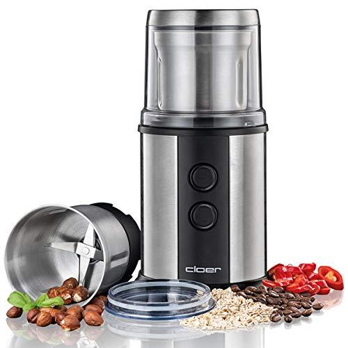 Cloer 7419 Elektrische Kaffee- und Gewürzmühle mit Edelstahl-Schlagmesser, 350W, 2 abnehmbare Edelstahlbehälter, für Pesto, Kräuter, Nüsse und Getreide, bis zu 80 g Kaffeebohnen, Aromaschutzdeckel