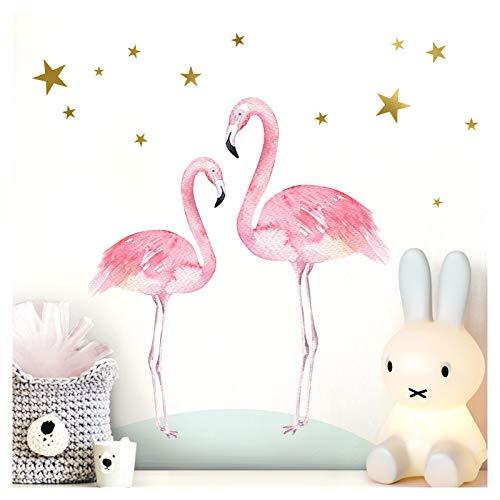 Little Deco Wandtattoo Kinderzimmer Mädchen 2 Flamingos Tiere Sterne I (BxH) 50 x 32 cm I Wandaufkleber Wandsticker Aufkleber Baby DL212-7