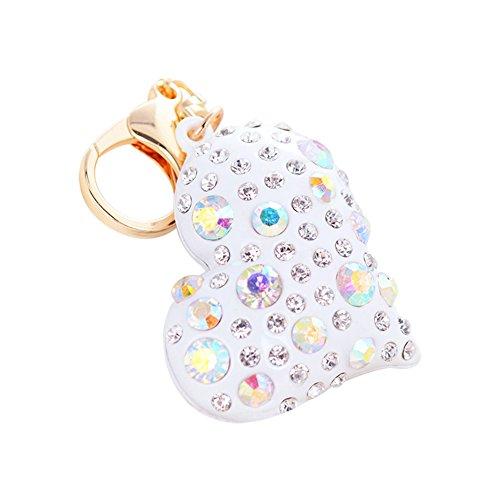 Meigold Porte-clés en Forme de cœur avec Pendentif en Forme de cœur et Porte-clés de Voiture, Blanc, 12 * 5.5 * 5cm