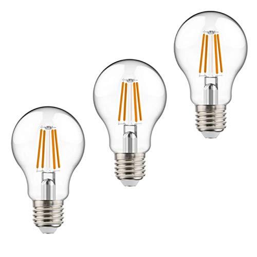 proventa® Bombilla LED con sensor de luz crepuscular | Set 3 uds. | Encendido automático al anochecer | Aspecto bombilla tradicional 4 filamentos | Cuerpo de vidrio | 7W | 806 lm | Ángulo de haz 360°