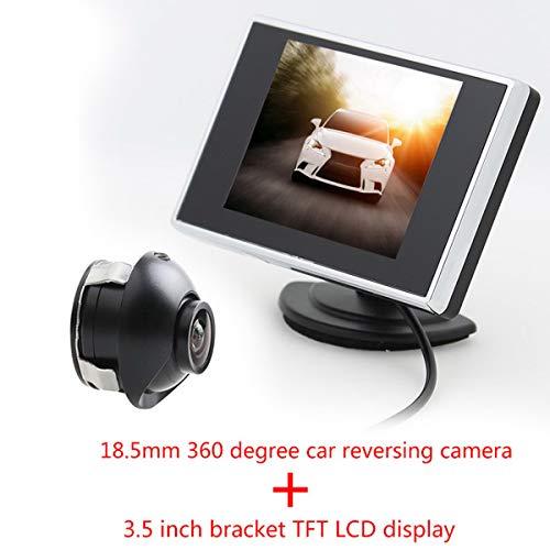 Moniteur LCD TFT 3,5 pouces Moniteur de télévision automatique voiture Moniteur de caméra de vue arrière de voiture avec HD 360 CCD Caméra de stationnement de voiture de sauvegarde inverse 2 entrées