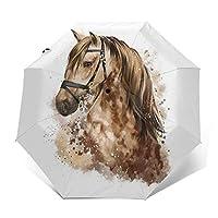 傘 茶色の馬 折りたたみ傘 日傘 ワンタッチ 自動開閉 紫外線遮蔽 超撥水 晴雨兼用 メーズ レディース 携帯しやすい 収納ポーチ付き