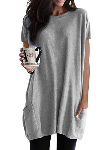 Dokotoo Womens Summer Casual Crewneck T-shirts Loose Fit Solid Color Short Sleeve Long Tunic Tops Oversized Shirts with Pockets for Women,US 16-18(XL),Grey