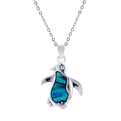 Paua Shell Natural Abalone Penguin Necklace, Rhodium Plated in Delicate Blue/Green (P091)