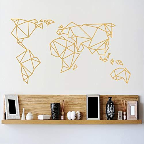 fancjj Mapa del Mundo de Origami Pegatinas de Pared decoración para el hogar Vinilo Tatuajes de Pared patrón Creativo removible Mural para Sala de Estar 58X110CM