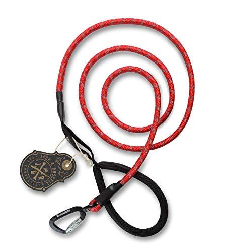 Jack & Russell Kosmo Laisse pour chien Premium en corde d'escalade professionnelle et mousqueton à fermeture rotative avec poignée Soft-Grip – Div. couleurs avec sac en jute (rouge/réfléchissant)