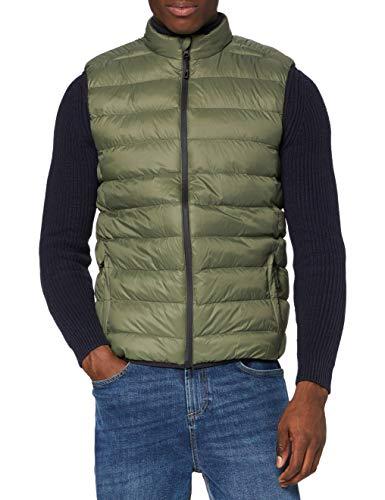 Marca Amazon - MERAKI Chaleco Acolchado Hombre con Cuello Alto, Verde (Khaki), M, Label: M