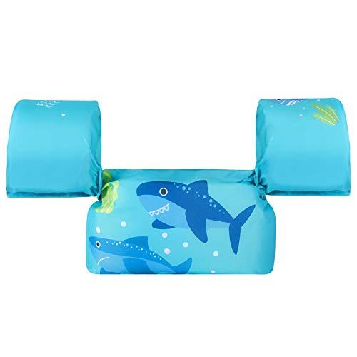 HeySplash Giubbetto Salvagente con Braccioli Gonfiabili, Canottiera per Piscina Giacca di Sicurezza per Piscina Galleggiante per Nuoto Accessori per Bambini con Motivo Cartone Animato - Squalo Blu