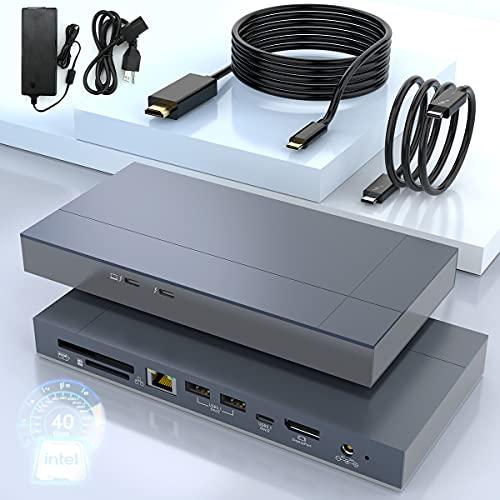 Thunderbolt 3 Docking Station Dual 4K @ 60Hz Displayport / HDMI, 8K...