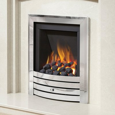 Be Modern Alcazar Slimline Inset Gas Fire Manual Control Chrome Design Trim