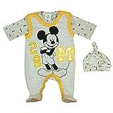 Baby Junge Strampler Set mit Mickey Mouse von Disney Baby in Größe 56 62 68 ärmelloser Strampler mit Langarm Body und Baby Mütze 100% Baumwolle Farbe Grau, Größe 68