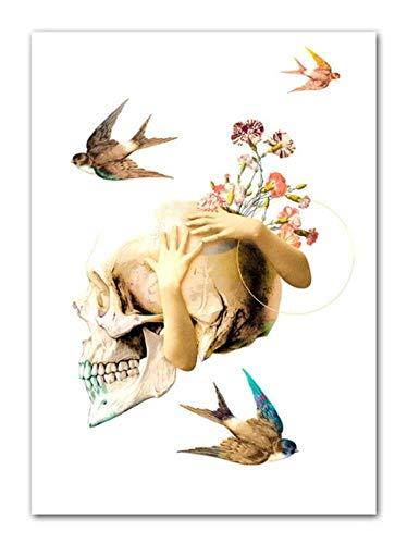 Wuzhaodi poster abstracte dier plant illustratie landschap Scandinavische poster en druk wand kunstdruk canvas schilderij afbeelding 60X80CM C