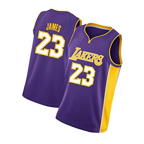 ジェームズ James 男子バスケットボールジャージ レイカーズ Lakers 23#、 レトロ刺繍ノースリーブベスト、 夏の涼しい通気性のバスケットボールトッ