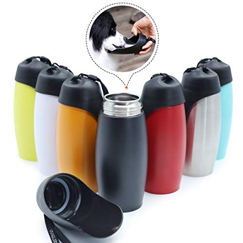 VIVAGLORY Wasserflasche für Hunde, 750 ml Edelstahl Hundenapf Wasserflasche mit großem Trog, BPA frei, Klassisch Schwarz