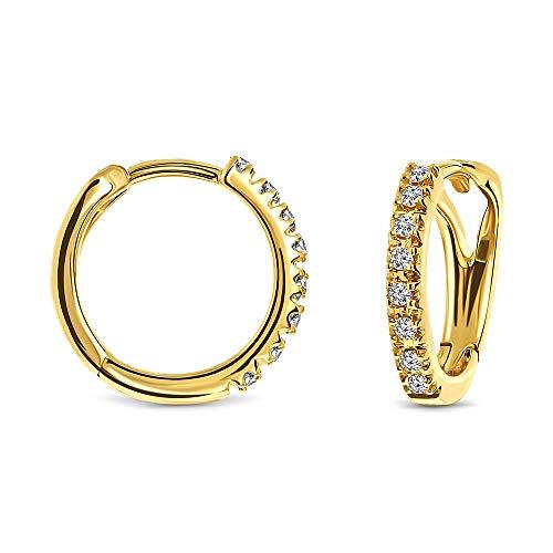 Miore Ohrringe Damen 0.10 Ct Diamant Creolen aus Gelbgold 18 Karat / 750 Gold, Ohrschmuck mit Diamant Brillianten